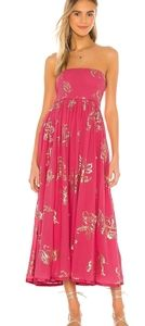 💫Free people baja babe pink floral midi dress